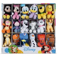 DISNEY Complete SET 18 Different MINI PLUSHIES 10cm Most Loved Characters ORIGINAL With DISPLAY