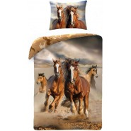 Set Letto CAVALLI AL GALOPPO Riding Horses COPRIPIUMINO e FEDERA 100% Cotone 140x200