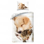 BED SET Duvet Cover CAT and DOG SLEEPING TOGETHER So Cute 140x200 Top Quality COTTON