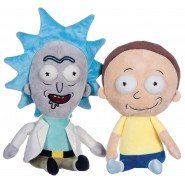 COPPIA Set 2 Peluche RICK and MORTY 25cm sorridenti felici ORIGINALI Ufficiali