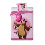 BED SET Duvet Cover MASHA And THE BEAR Balloon 160x200 COTTON