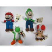SET 4 Diversi Peluche 15cm SUPER MARIO Bros MARIO LUIGI TOAD YOSHI ORIGINALI Nintendo