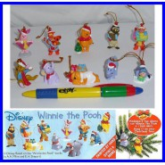 RARO Set Completo 10 Mini Figure WINNIE THE POOH Natale Originali Laccetto Dangler DISNEY