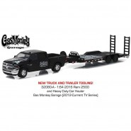 BOXED SET Car Model 2016 RAM 2500 With Heavy Duty CAR HAULER Gas Monkey Garage Scale 1:64 Greenlight Serie Hitch and Tow