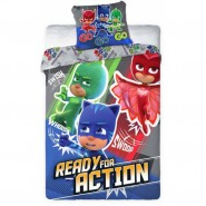 Single BED SET Cotton Duvet Cover PJ MASKS Ready For Action 140x200cm and Pillow Case 70x90cm