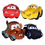 SET COMPLETO 4 Diversi Peluche CARS 3 15cm Saetta Mc Queen Cricchetto Jackson Storm Cruz Ramires Originali Posh Paws DISNEY