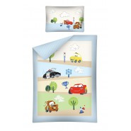 Bed Set BABY Disney CARS ROAD Strada McQueen Saetta Mater Luigi DUVET COVER 100x135 Cotton BLUE SIDES