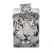 Single BED SET Cotton Duvet Cover WHITE TIGER  Animal and Nature 140x200cm