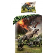 BED SET Duvet Cover  JURASSIC WORLD VULCAN Dinosaur T-REX Official 140x200 COTTON
