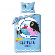 BED SET Duvet Cover  GEORGE CAPTAIN from PEPPA PIG 140x200 COTTON Single Bed OFFICIAL