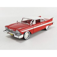 CHRISTINE Modello 19cm DieCast PLYMOUTH 1958 FURY Rossa Bianca Vetri Chiari Scala 1/24 ORIGINALE Greenlight