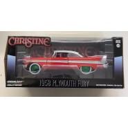 CHRISTINE Modello 19cm DieCast PLYMOUTH 1958 FURY Rossa Bianca Vetri Chiari RUOTE VERDI Scala 1/24 ORIGINALE Greenlight