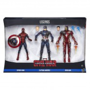 Box 3 Figure CIVIL WAR Uomo Ragno Capitan America Iron Man Action 16cm Spider Man Marvel LEGENDS Series Hasbro B8215