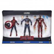 Box 3 Figure CIVIL WAR Uomo Ragno Capitan America Iron Man Action 16cm Spider Man Marvel LEGENDS Series Hasbro B8215
