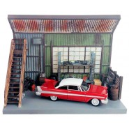 CHRISTINE Diorama DARNELL'S GARAGE and Model Car Scale 1/64 Original Auto World Diecast