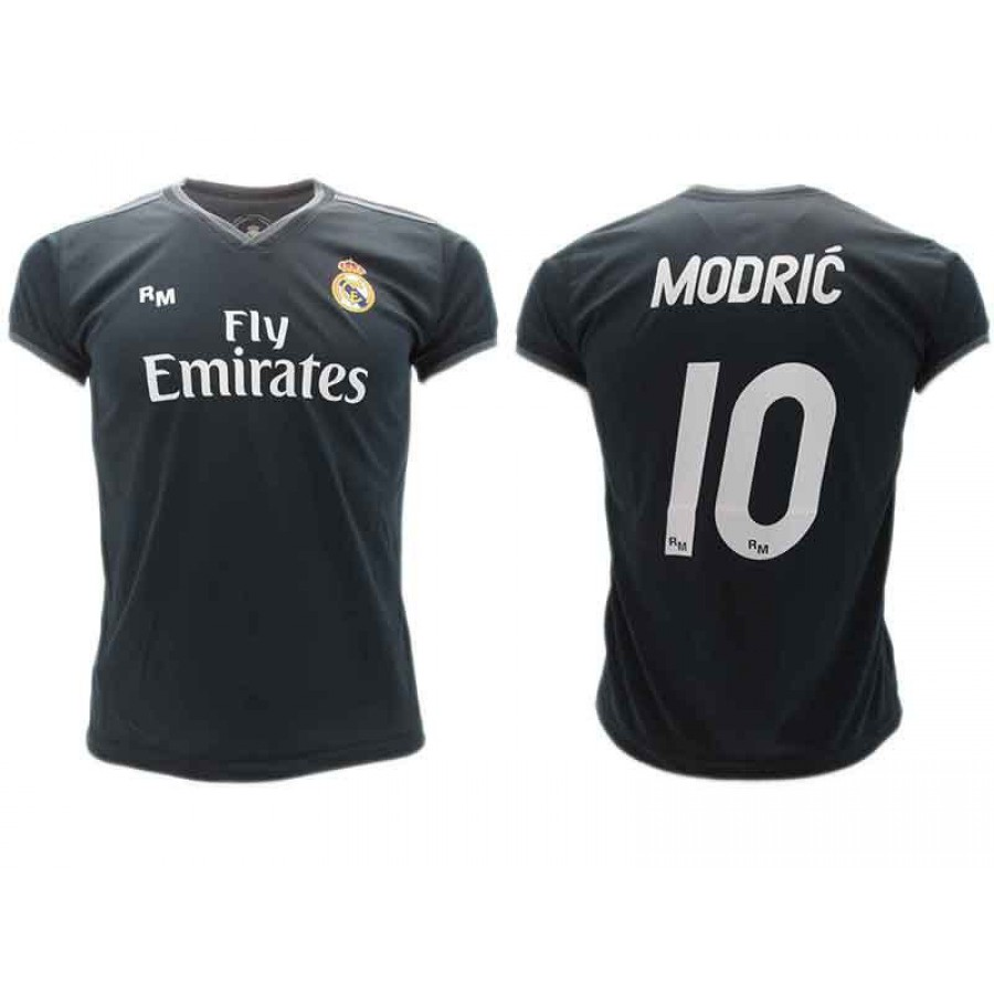 timeless design 15a99 ea2fd Luka MODRIC Number 10 REAL MADRID Away BLACK Jersey 2018/2019 T-SHIRT  Replica OFFICIAL Authentic