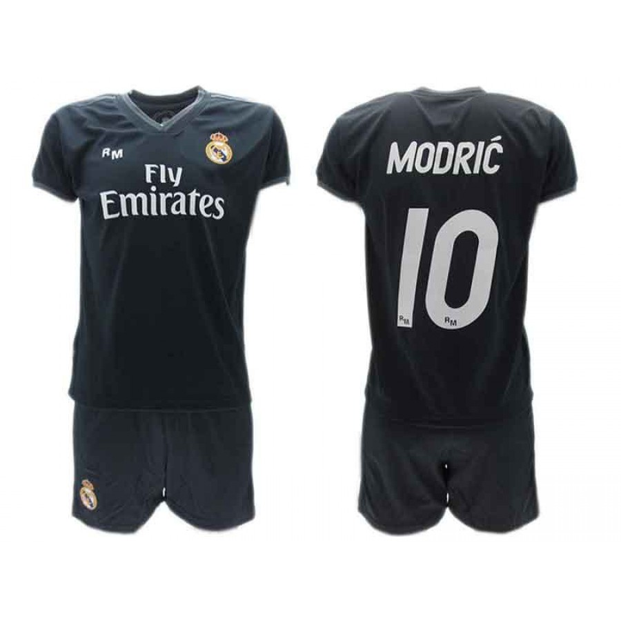buy online a04c5 c7b41 Luka MODRIC 10 REAL MADRID Kit JERSEY + SHORTS Away BLACK 2018/2019 T-SHIRT  Replica OFFICIAL Authentic