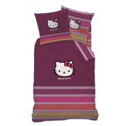 Set Letto HELLO KITTY Viola Reversibile 160x200 Federa 70x80 Originale COTONE Gattina Gatto