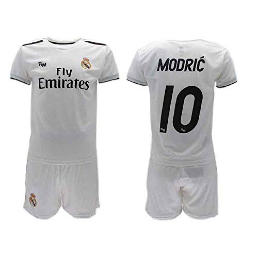 quality design fd6b3 a98a8 Luka MODRIC 10 REAL MADRID Kit JERSEY + SHORTS Home WHITE 2018/2019 T-SHIRT  Replica OFFICIAL Authentic