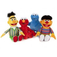 SET COMPLETO 4 Peluche 20cm SESAME STREET Bert Ernie Elmo Cookie Mostro ORIGINALI Ufficiali Muppets