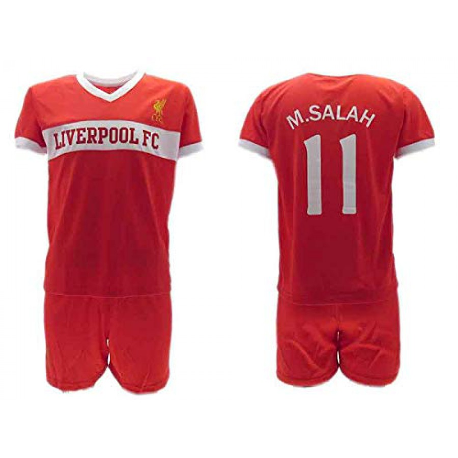 5c77e9fc73f Mohamed MOMO SALAH 10 LIVERPOOL Kit JERSEY + SHORTS Home Red Reds 2018 2019  T ...