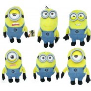 MINIONS Usual Dress SET 6 Different PLUSHIES 30cm from DESPICABLE ME 3 Plastic Glasses