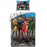 Set Letto MIRACULOUS 5 Personaggi Reversibile 140x200 Federa 70x90 Originale COTONE Ladybug Rena Rouge Cat Noir Queen Bee
