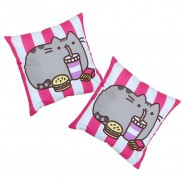 Cat PUSHEEN PILLOW Fast Food Hamburger Fries Drink Pink White 40x40cm Original and Official