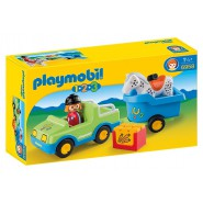 Playset CAR WITH HORSE TRAILER Original  PLAYMOBIL 1-2-3 Code 6958