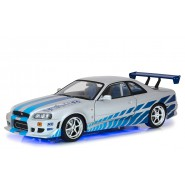 FAST and FURIOUS Model Working Light LED BRIAN's 1999 NISSAN SKYLINE GT-R 34 Scale 1/18 25cm Original Greenlight ARTISAN