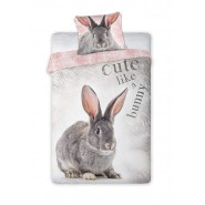 Single BED SET Cotton Duvet Cover RABBIT Animal and Nature 140x200cm