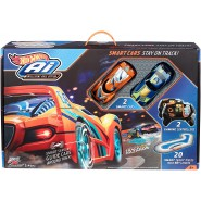 Electric SLOT CAR Track AI Starter Kit with artificial intelligence and 2 Cars HOTWHEELS FBL83