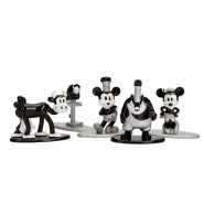 MICKEY MOUSE Set 5 Mini Figures METAL 4cm Mickey Mouse Minnie Clarabelle Cow Parrot Pete Original JADA NANO Metalfigs DISNEY
