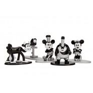 TOPOLINO Set 5 Mini Figure METALLO 4cm Mickey Mouse Minnie Clarabella Pappagallo Pete Originali JADA NANO Metalfigs DISNEY