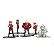 INCREDIBILI 2 Set 5 Mini Figure METALLO 4cm Dash Jack Jack Elastigirl Violet Originali JADA NANO Metalfigs DISNEY Pixar