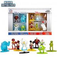 Set 10 Mini Figure METALLO 4cm Baymax Sulley Alice Originali JADA NANO Metalfigs DISNEY Pixar 84424