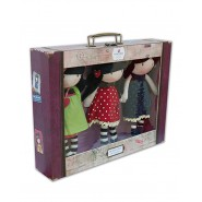 Bambole SANTORO GORJUSS Set 3 Peluche 30cm con VALIGETTA Originali