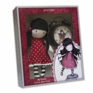 BOX SET Plush Doll RED 30cm + ALARM CLOCK Vintage SANTORO GORJUSS Original