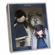 BOX SET Plush Doll BLUE 30cm + ALARM CLOCK Vintage SANTORO GORJUSS Original