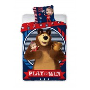 BED SET Duvet Cover MASHA And THE BEAR Play To Win 140x200 COTTON
