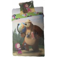 BED SET Duvet Cover MASHA And THE BEAR With Cameras and Globe 160x200 COTTON
