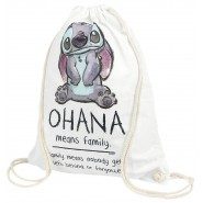 LILO & STITCH GYM BAG White 44x36cm 100% Cotton OHANA Means Family Original Official DISNEY