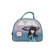 GIRL with Umbrella HAND BAG 28x21x10cm 2 Handles BLUE Original SANTORO GORJUSS