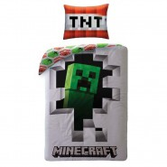 MINECRAFT Single Bed Set HOSTILES Enemies Pixels Original DUVET COVER 140x200cm Cotton OFFICIAL