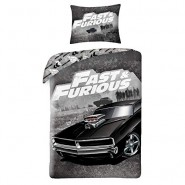 FAST AND FURIOUS Single Bed Set DOM's Dodge Charger Black Original DUVET COVER 140x200cm Cotton OFFICIAL