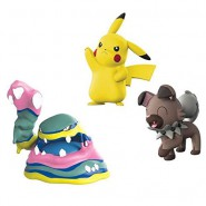 POKEMON Box 3 FIGURES Alolan Muk + Pikachu + Rockruff Original WCT Battle Figure Set