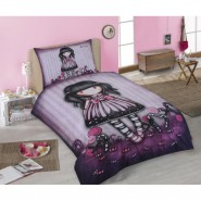 GIRL Doll With PURPLE DRESS Papillon SINGLE BED SET Original SANTORO Gorjuss Original DUVET COVER 140x200cm Cotton OFFICIAL