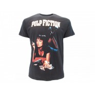 PULP FICTION T-Shirt Jersey Black With Girl Mia Wallace OFFICIAL Original Movie Tarantino Uma Thurman