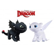 COUPLE Set 2 Plushies DARK FURY Toothless And LIGHT FURY 30cm from DRAGON TRAINER Part 3 Movie 2019 ORIGINAL Dragons