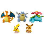 Pokemon SET 5 FIGURES Collection KANTO REGION 2-5cm Pikachu Charizard Blastoise Venusar Eevee Gashapon TOMY Japan